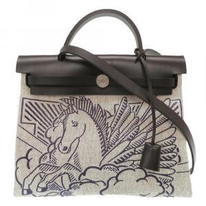 Hermes Grey Toile Canvas Pegase Pop Herbag Zip 31 Bag