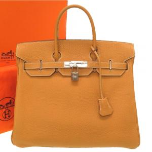 Hermes Brown Fjord Leather Birkin 32 Bag