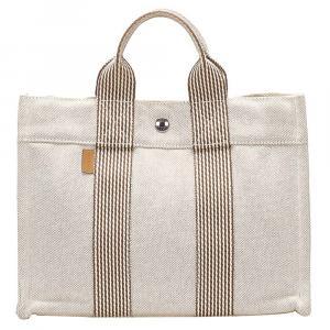 Hermes White Canvas Fourre Tout PM Bag