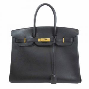 Hermes Black Leather Gold Hardware Birkin 35 Bag