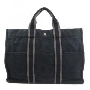 Hermes Black Canvas Fourre Tout MM Tote Bag