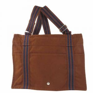 Hermes Brown Canvas  Fourre Tout Tote Bag