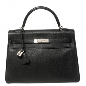 Hermés Noir Togo Leather Palladium Hardware Kelly Retourne 32 Bag