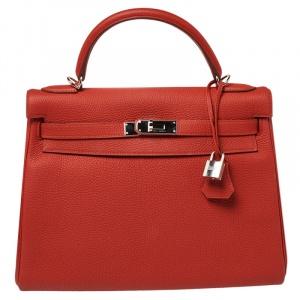 Hermes Rouge Piment Togo Leather Palladium Hardware Kelly Retourne 32 Bag