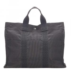 Hermes Grey Canvas Herline MM Tote Bag