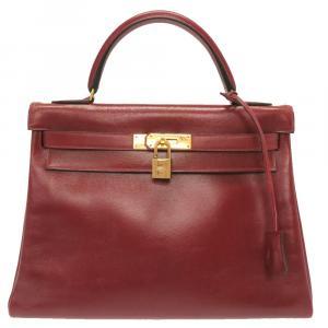 Hermes Red Box Leather Kelly Retourne 32 Bag