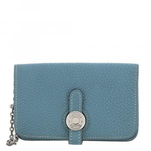 Hermes Blue Leather Dogon Coin Pouch