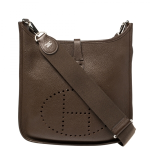 Hermes Chocolat Togo Leather Evelyne III PM Bag