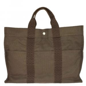 Hermes Brown Canvas Fourre Tout MM Bag