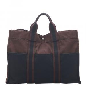Hermes Brown/Blue Canvas Fourre Tout MM Bag
