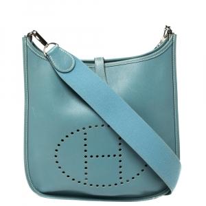 حقيبة هيرمس ايفيلين آي پي إم جلدسيل إبسوم أزرق