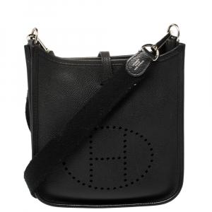 Hermes Black Veau Grain Lisse Leather Evelyne TPM Bag