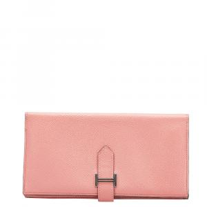 Hermes Pink Bearn Soufflet Leather Wallet