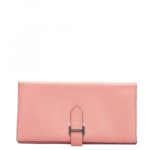 Hermes Pink Bearn Soufflet Leather Wallet