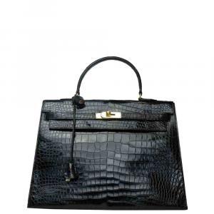 Hermes Black Porosus Crocodile Leather Gold Hardware Kelly Bag