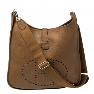 Hermes Alezan Clemence Leather Evelyne III TGM Bag