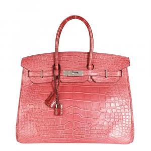 Hermes Rose Matte Alligator Leather Palladium Hardware Birkin 35 Bag
