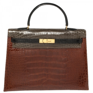 حقيبة هيرمس كيلي سيليير 35 جلد تمساح لامع ثلاثي اللون إكسسوار مطلي ذهبي