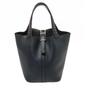 Hermes Bleu Indigo/Black/Terre Battue Epsom Leather Lock Picotin Cuir De Tressage PM Bag