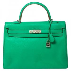 Hermes Menthe Taurillon Clemence Leather Palladium Finished Kelly Retourne 35 Bag