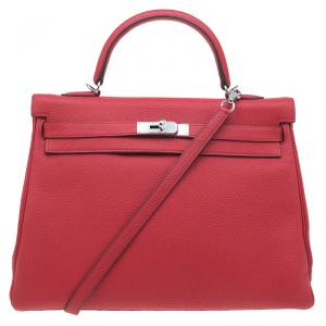 Hermes Red Clemence Leather Palladium Hardware Kelly Retourne 35 Bag