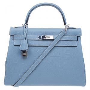 Hermes Blue Lin Togo Palladium Hardware Kelly Retourne 32 Bag