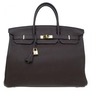 Hermes Choco Brown Togo Leather Gold Hardware Birkin 40 Bag