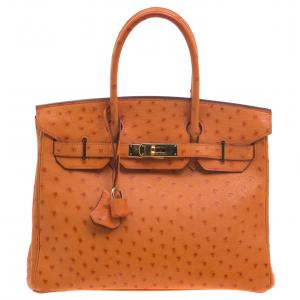 Hermes Tangerine Ostrich Leather Gold Hardware Birkin 30 Bag