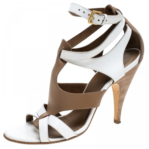 Hermes White/Brown Leather Strappy Open Toe Sandals Size 38 - used