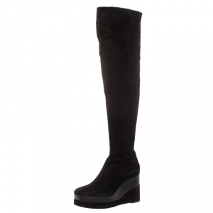 Hermes Black Suede And Leather Platform Wedge Over The Knee Boots Size 37 - used