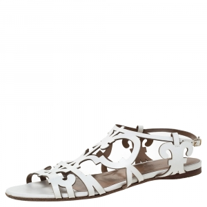 Hermes White Leather Karlotta Cut Out Flat Sandals Size 36 - used