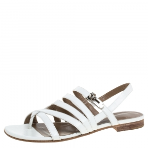 Hermes White Leather Marine Strappy Flat Sandals Size 38.5 - used