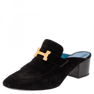 حذاء سلايد هيرمس تروكاديرو سويدي أسود سليب أون مقاس 39