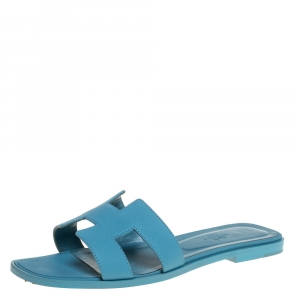 Hermes Light Blue Leather Oran Flat Sandals Size 40