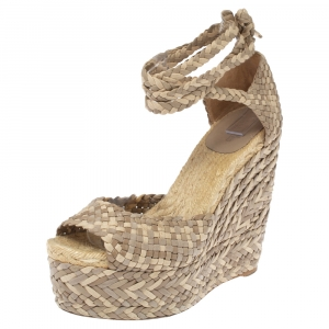 Hermes Beige Leather, Suede and Canvas Epice Tresse Espadrille Wedge Sandals Size 40 - used