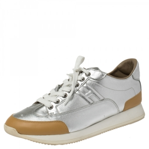Hermès Metallic Silver/Tan Leather Trail Low Top Sneakers Size 40