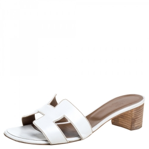 Hermes White Leather Oran Slip On Sandals Size 37.5