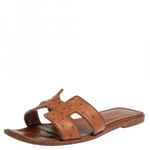 Hermès Brown Ostrich Leather Oran Sandals Size 37