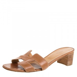 Hermes Brown Leather Oasis Sandals Size 39