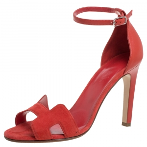 Hermes Red Suede and Leather Premiere Sandals Size 39