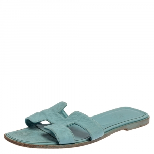Hermes Light Blue Leather Oran Flat Sandals Size 38.5 - used