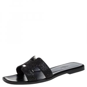 Hermes Black Glitter Leather Oran Flat Slides Size 38.5
