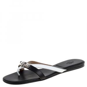Hermes Black/White Leather Corfu Thong Sandals Size 37