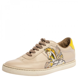 Hermes Beige Pégase Pop Print Leather Quicker Low Top Sneakers Size 38