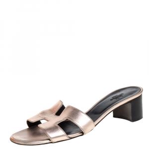Hermès Rose Gold Leather Oasis Slide Sandals Size 38