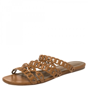 Hermes Brown Leather Chaine d'Ancre Slide Sandals Size 39