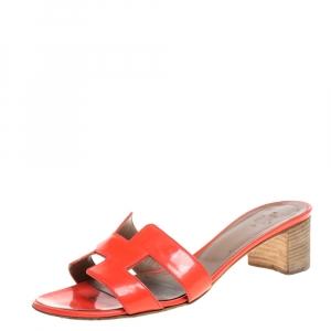 Hermes Orange Patent Leather Oasis Slides Size 37.5