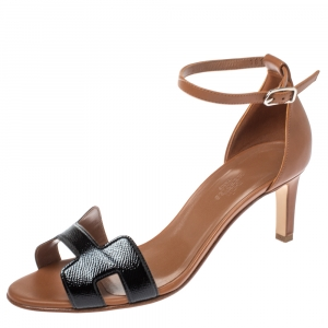 Hermes Brown/Black Patent Leather and Leather Night Ankle Strap Sandals Size 39