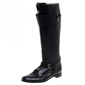 Hermes Black Leather Knee Length Boots Size 37