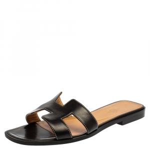 Hermes Black Leather Oran Slide Sandals Size 38.5